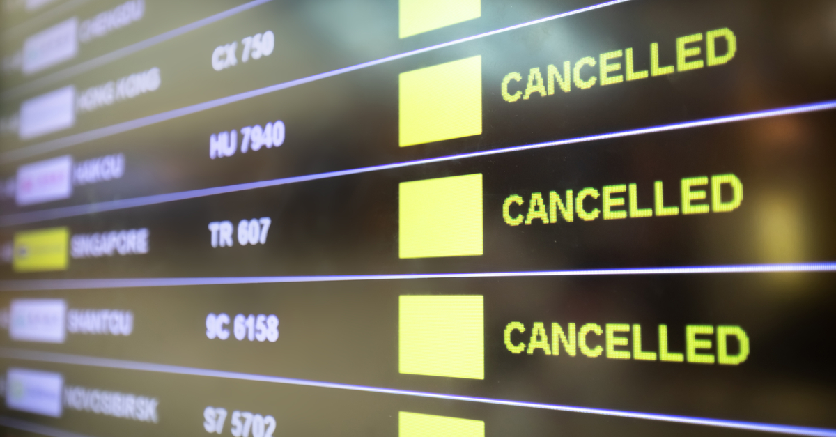 departures board cancelled flights covid